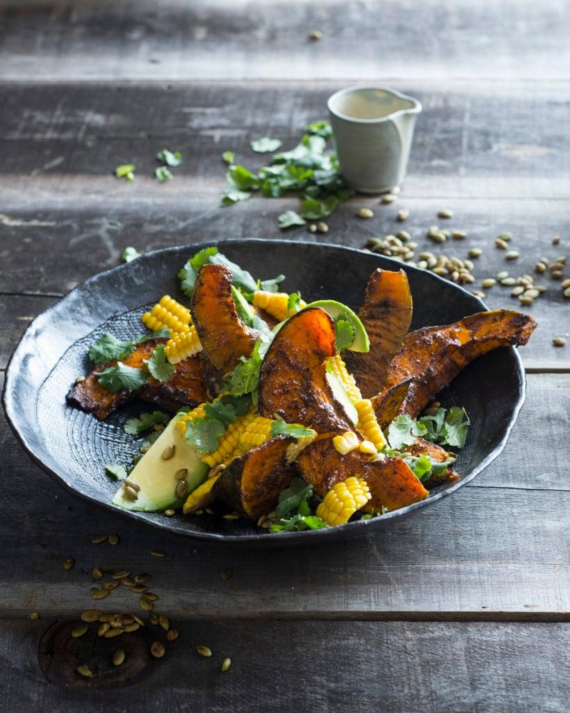 pumpkin corn autumn salad